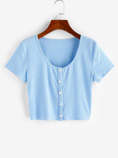 ZAFUL Camiseta Corta Con Botón Acanalado - Azul Claro S