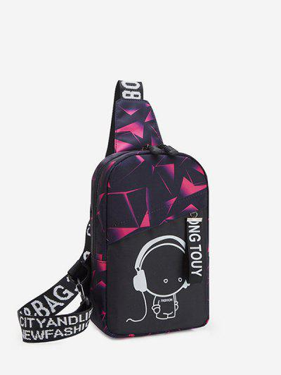 Cartoon Graphic Casual Chest Bag - Rose Red