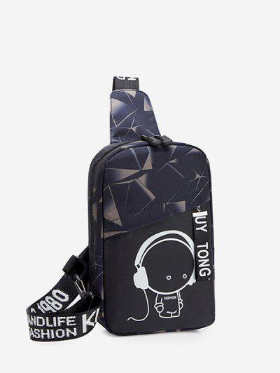 Cartoon Graphic Casual Chest Bag - Cloudy Gray