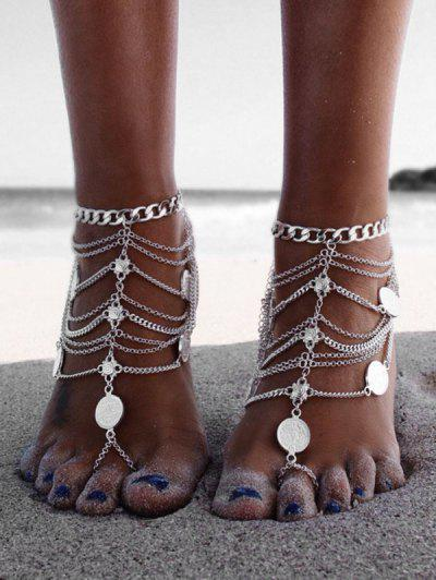 Toe Ring Layered Coin Anklet - Silver