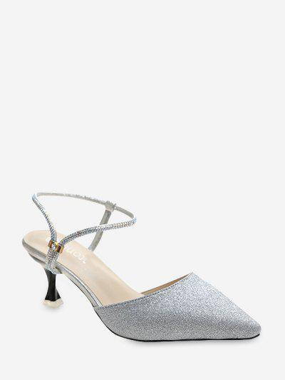 Glitter Pointed Toe Convertible Ankle Strap Pumps - Silver Eu 40