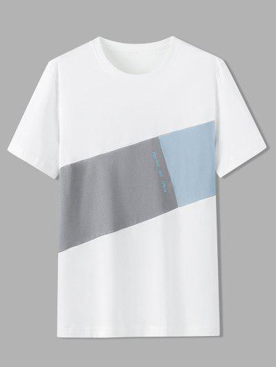 T-Shirt En Blocs De Couleurs Motifde Lettre - Blanc 4xl