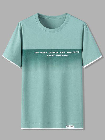 Camisola De Algodão Com Padrão Mangas Curtas E Letras - Luz Verde 2xl