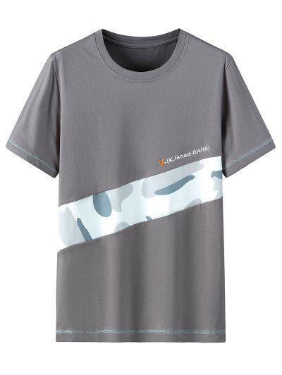 Letter Camo Pattern Casual T-shirt - Dark Gray 3xl