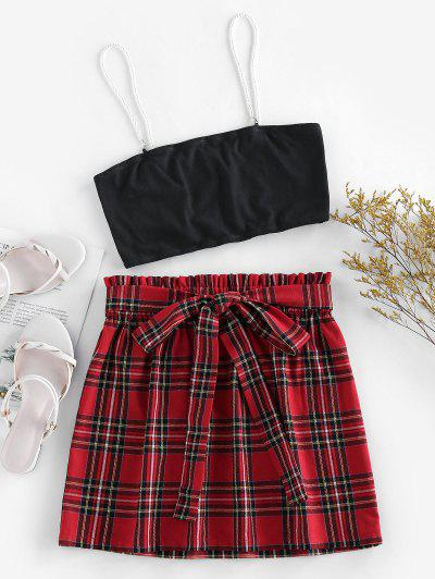 ZAFUL Plaid Faux Pearl Straps Belted Skirt Set - Multi S