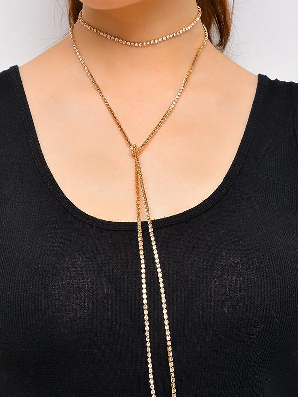 Rhinestone Chain Layered Necklace