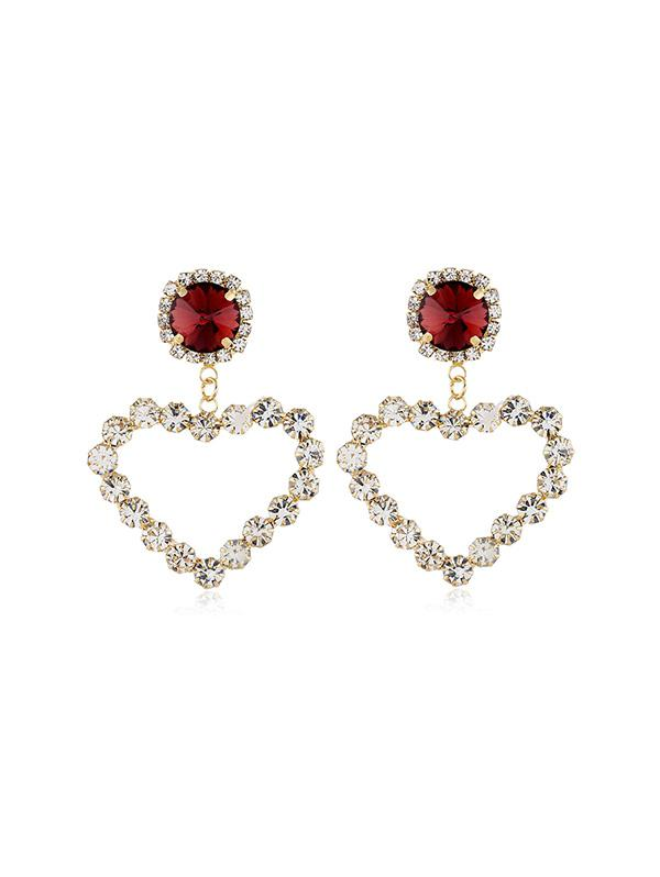 Heart Hollow Rhinestone Drop Earrings