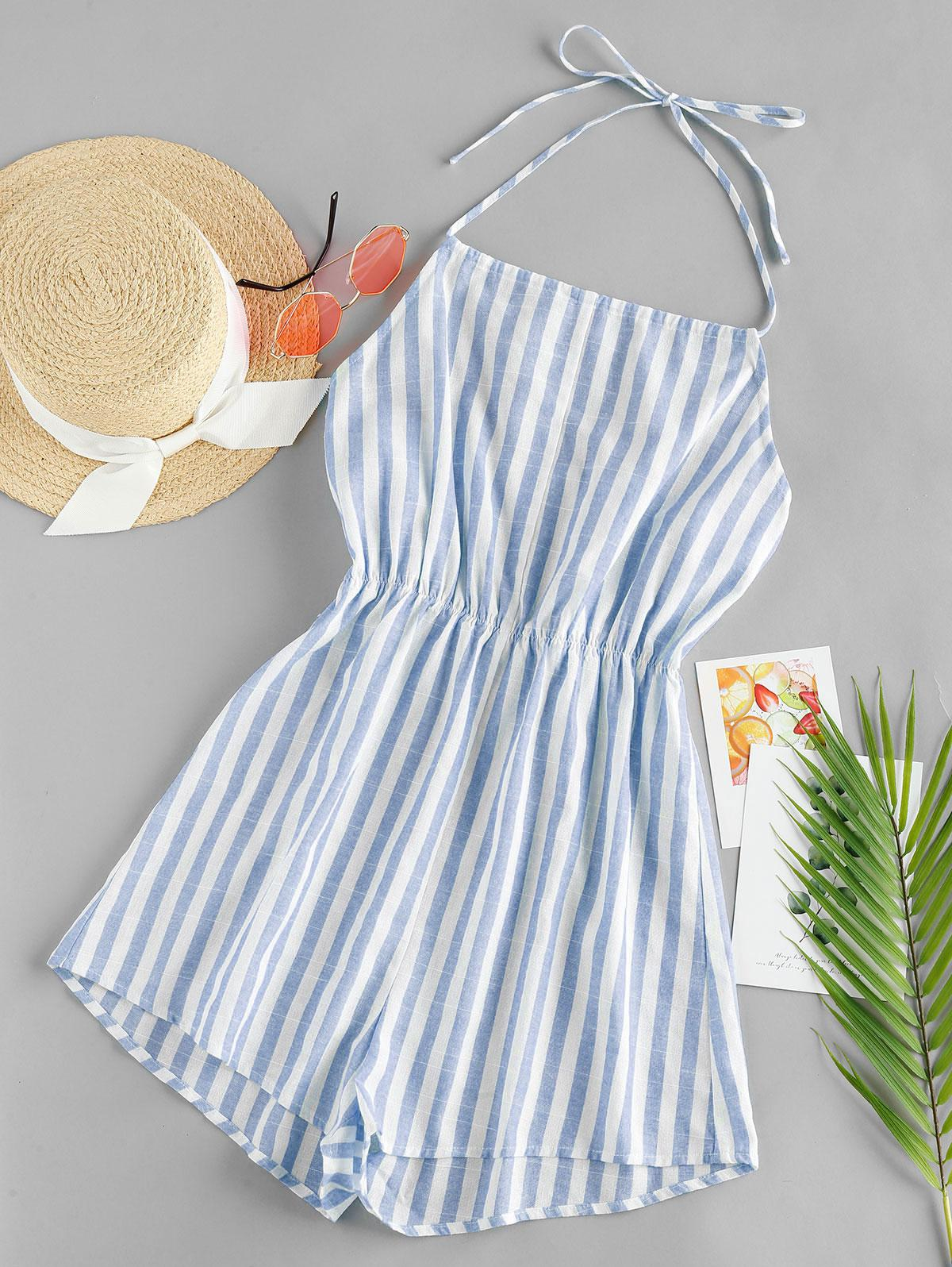 ZAFUL Striped Halter Wide Leg Romper