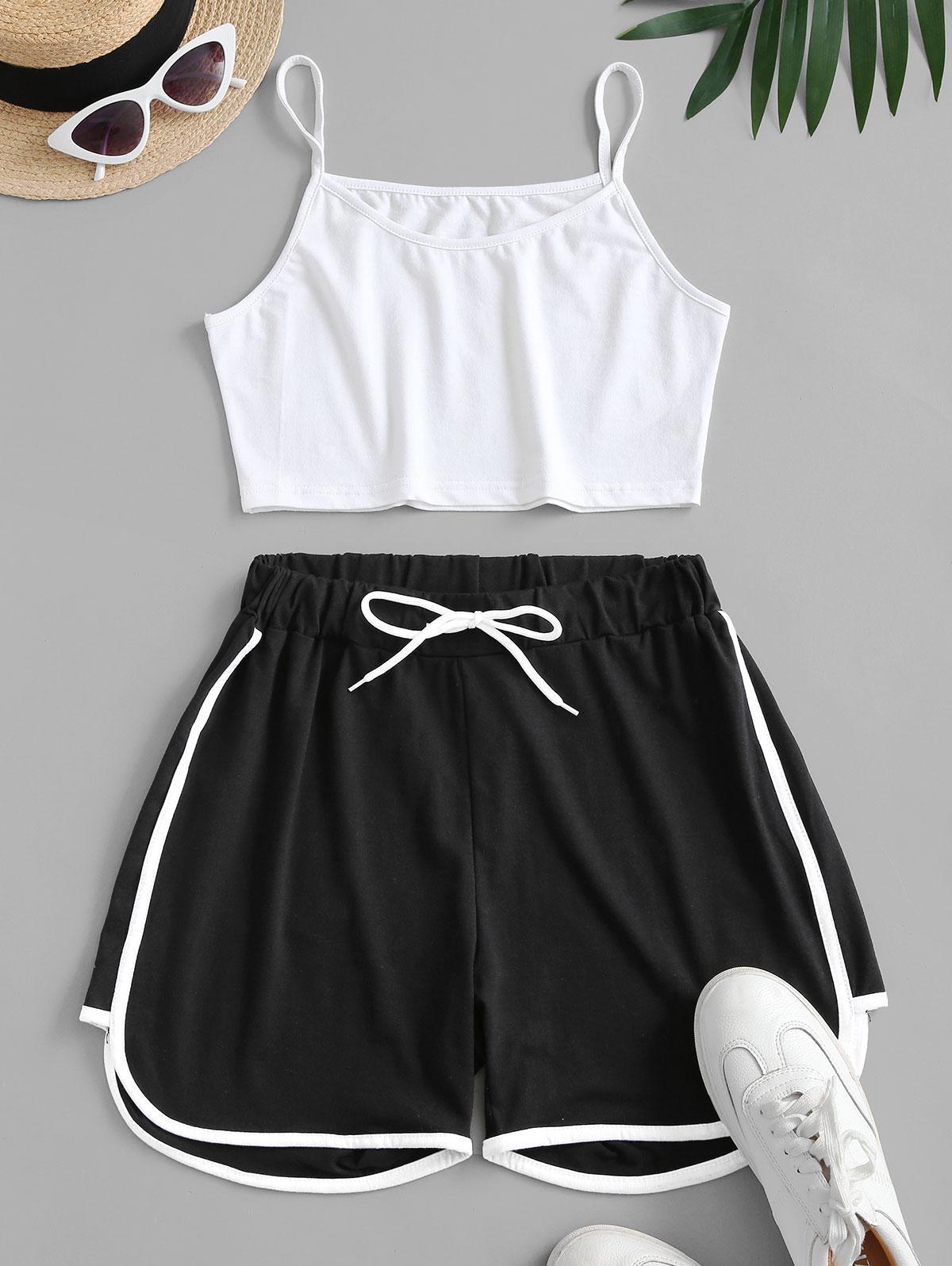 Crop Cami Top and Piping Shorts Set thumbnail
