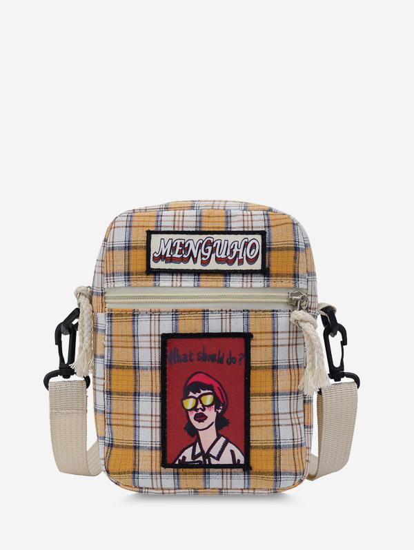 Girl Graphic Checked Mini Crossbody Bag