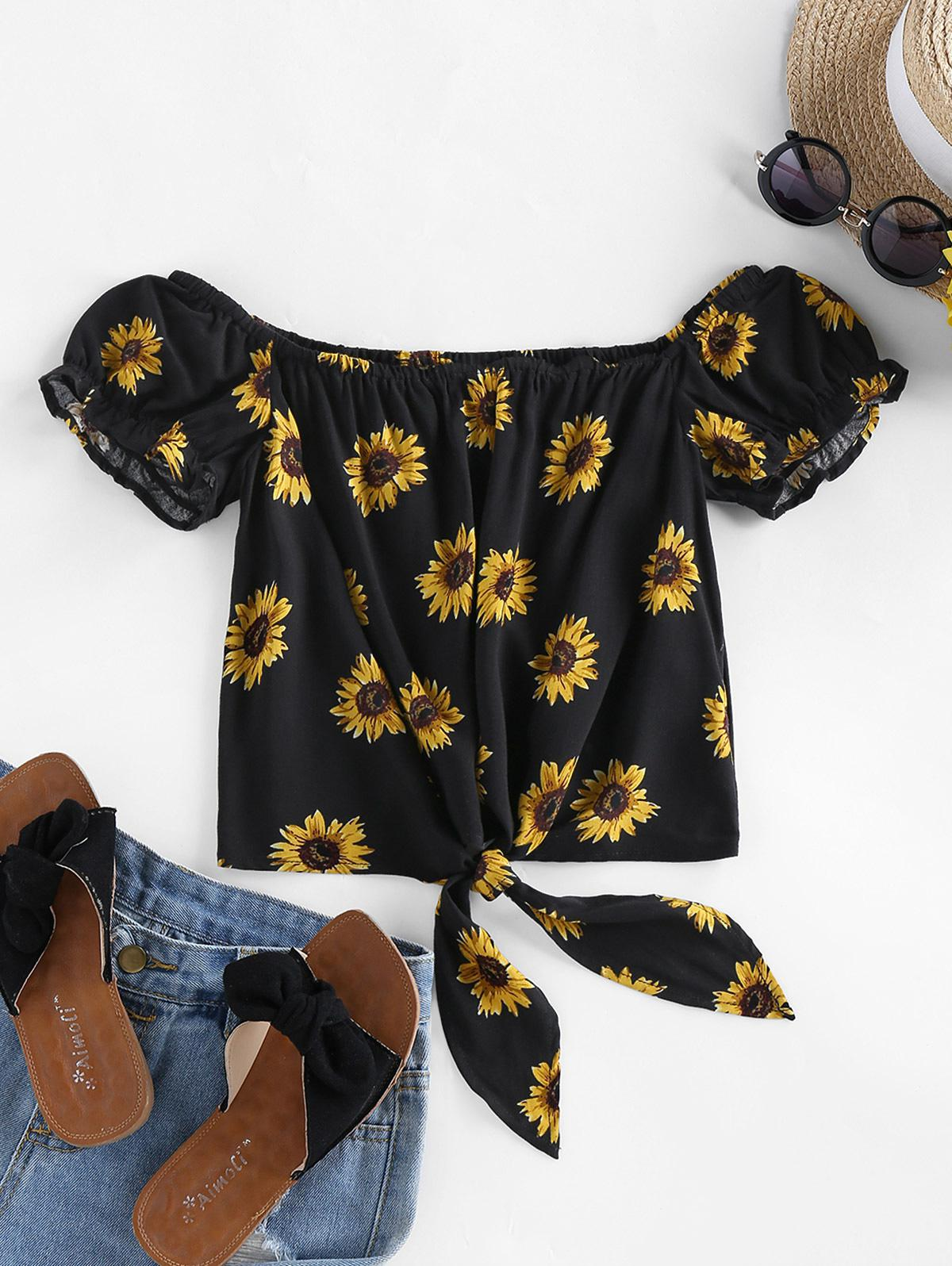 ZAFUL Sunflower Tie Hem Off Shoulder Blouse