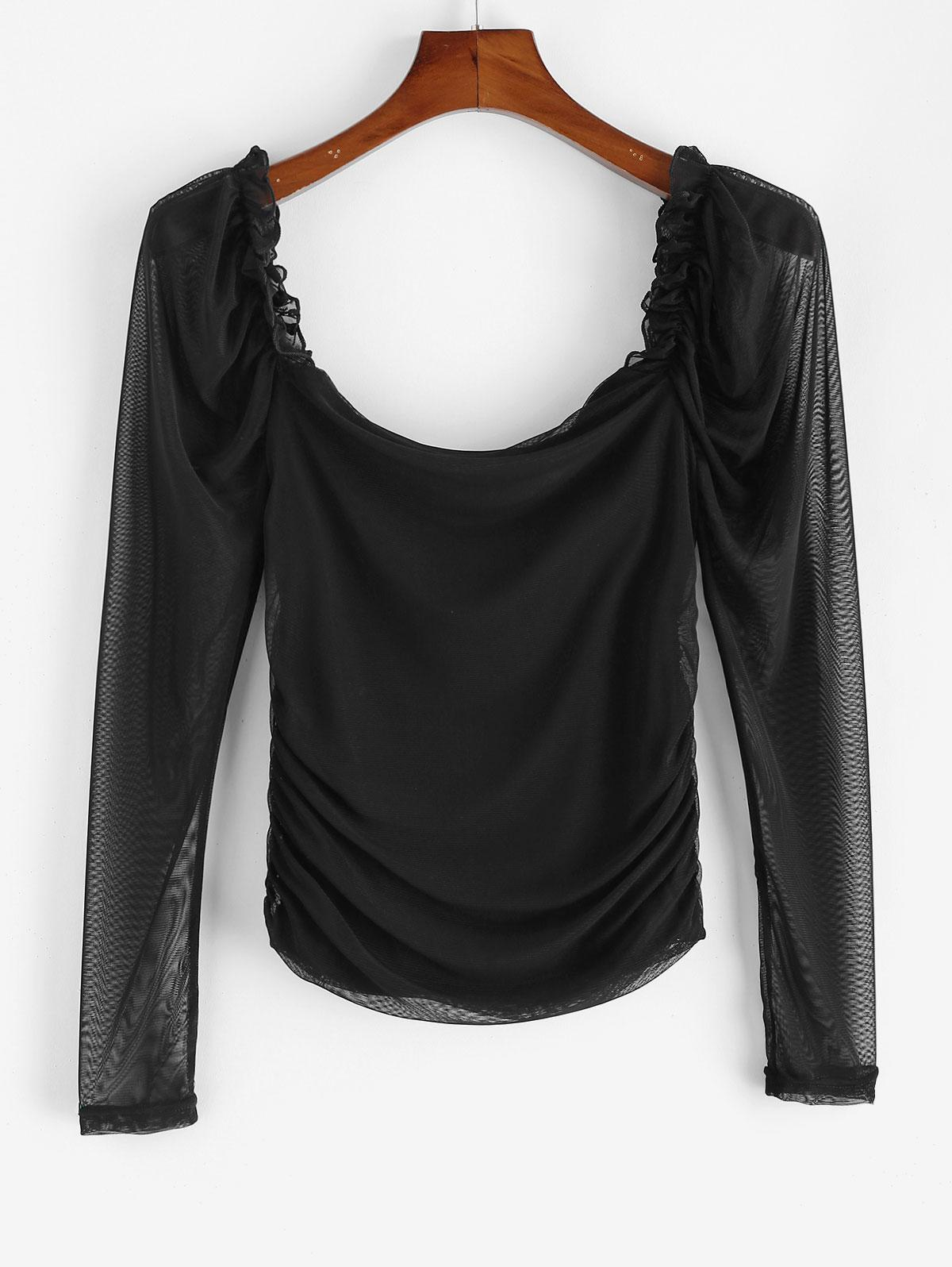Mesh Ruched Puff Sleeve Sheer Tee