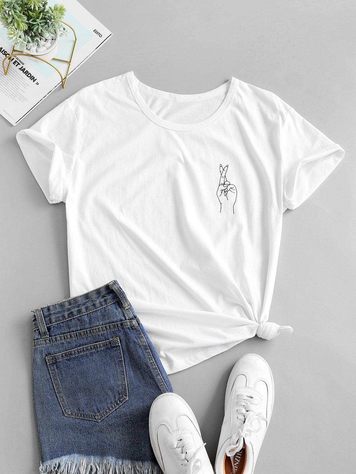 Finger Print Short Sleeve Casual T-shirt