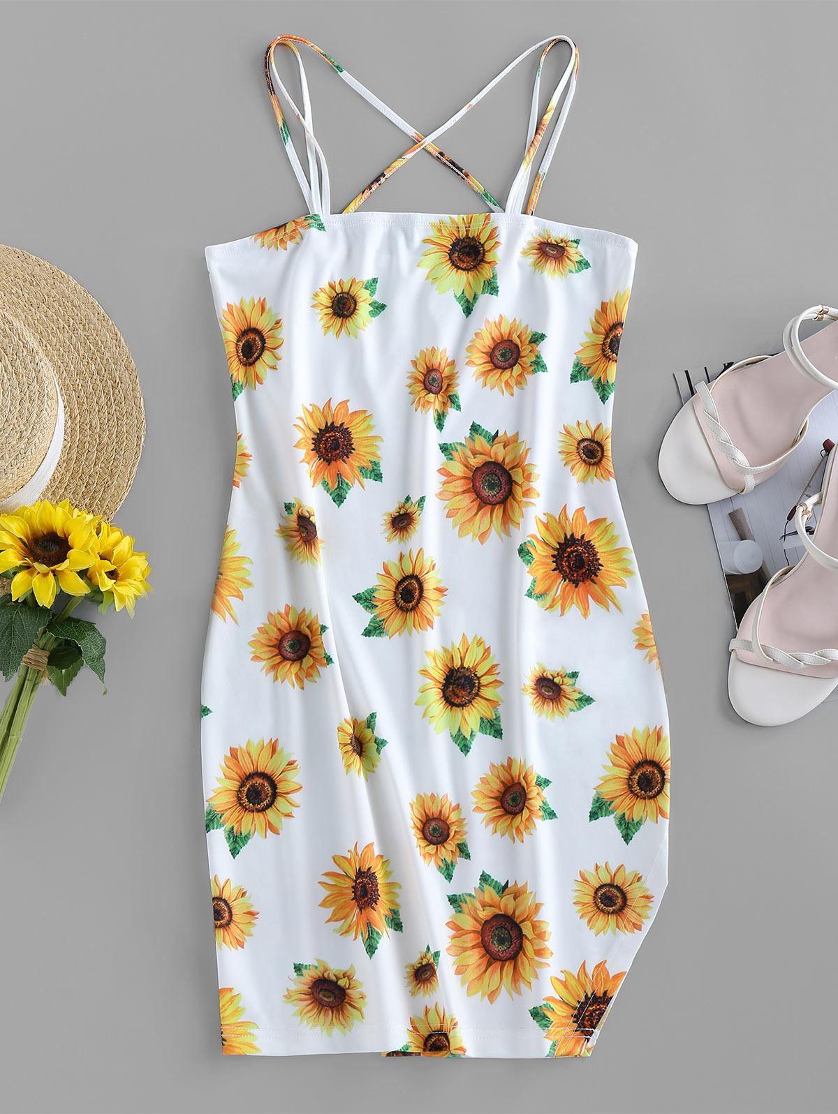 ZAFUL Sunflower Print Slit Mini Cami Dress