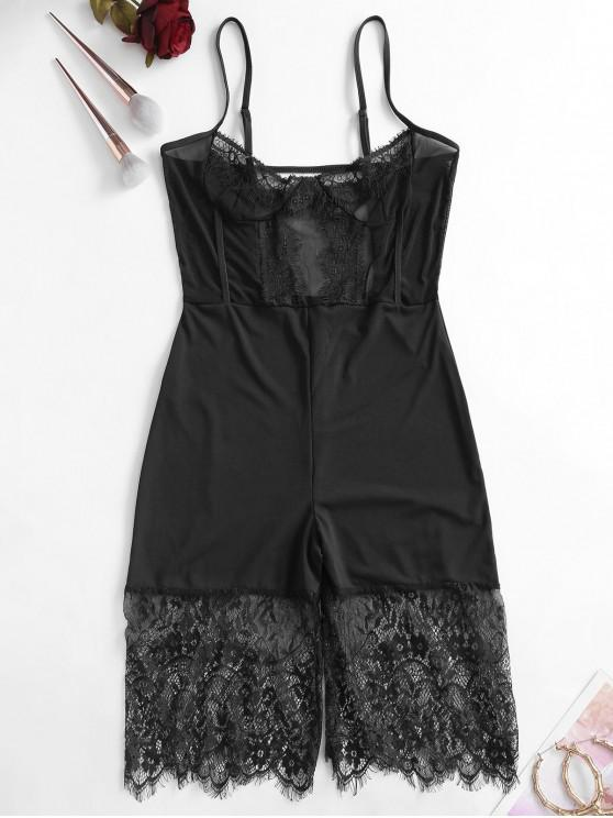 best Lace and Mesh Panel Skinny Romper - BLACK M