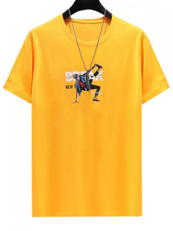 Charakter Buchstabedruck Lässiges T-Shirt - Helles Gelb 3XL