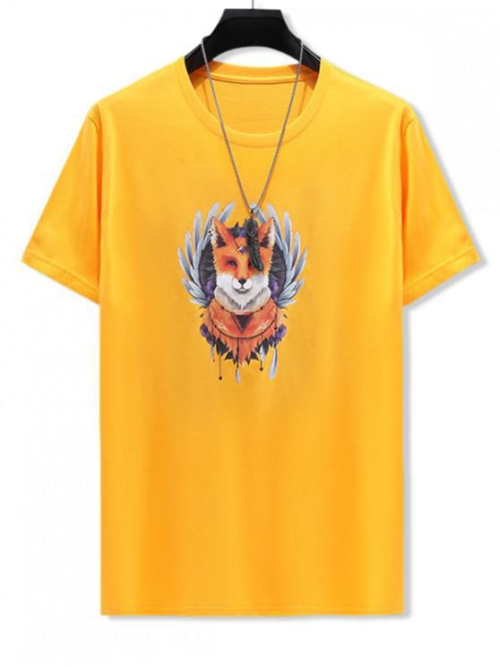 online Ethnic Animal Print Cotton T-shirt - BRIGHT YELLOW 3XL