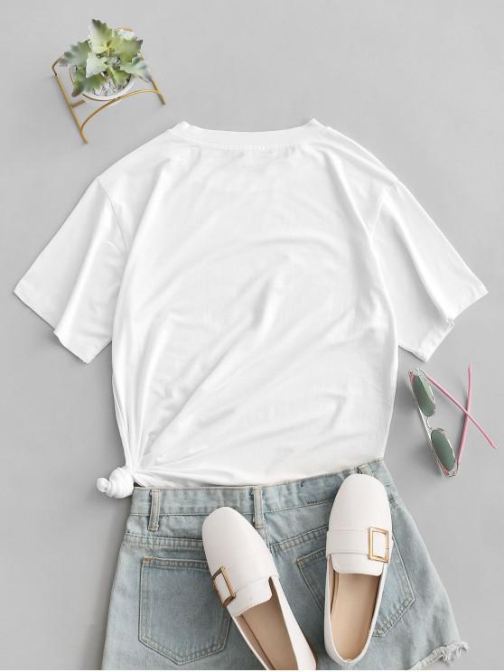 Leopard Lips BONJOUR CHERI Graphic T-shirt - White S | ZAFUL