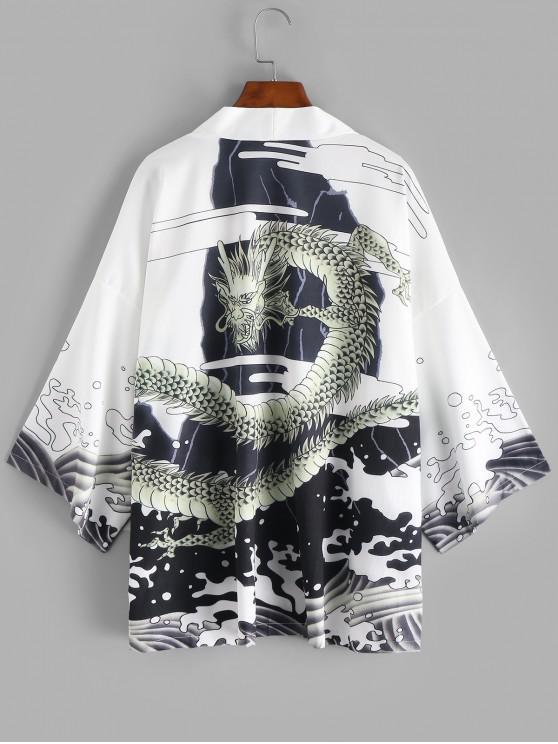 Cárdigan de Estilo Kimono de Onda de Dragón - Blanco 2XL