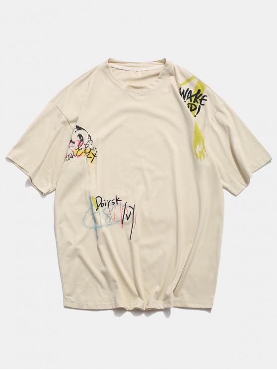 Camiseta Básica con Estampado de Animal - Beige M