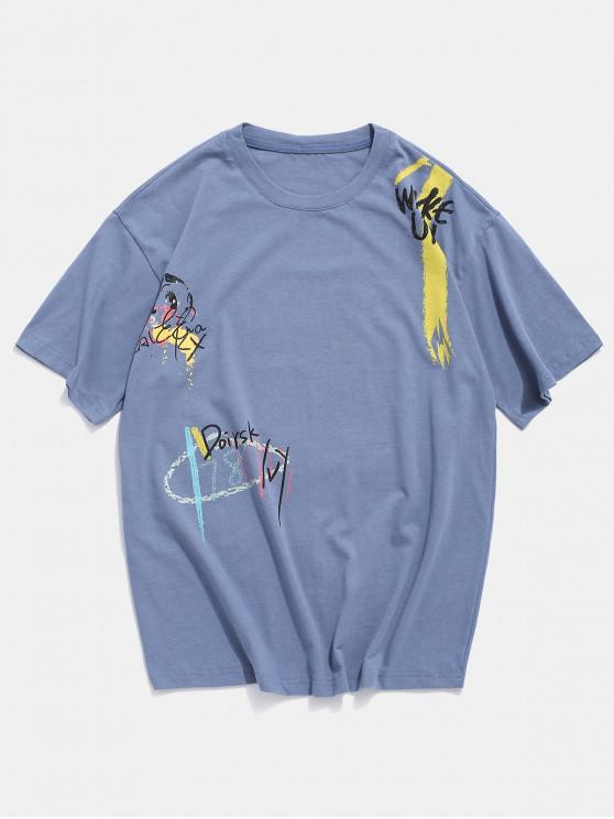 women's Animal Graffiti Graphic Basic T Shirt - SILK BLUE 4XL