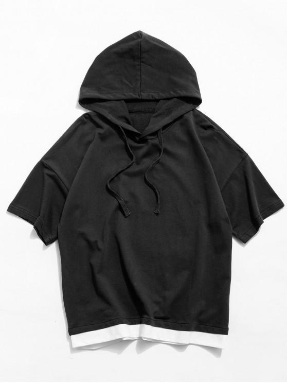 Colorblock Spliced Short Sleeve Hooded T-shirt - أسود M