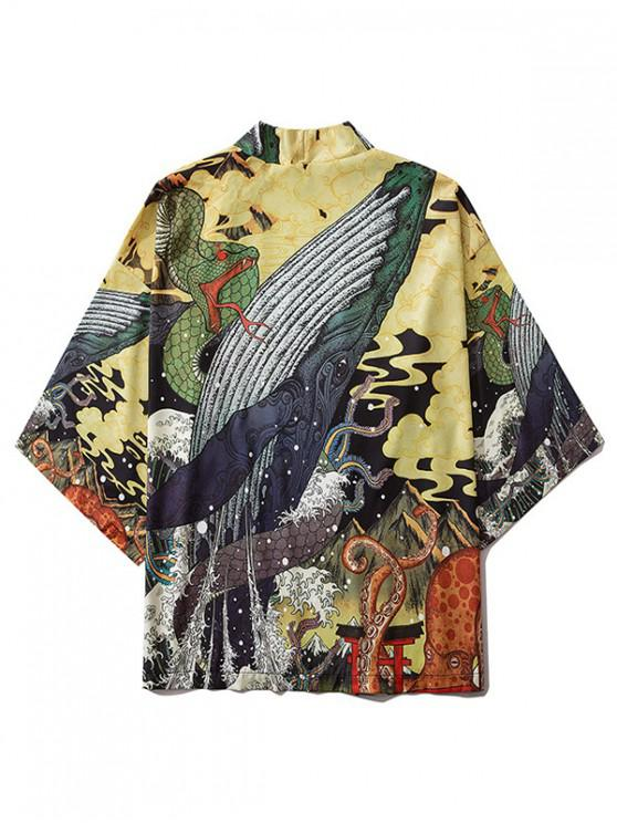 Snake Animal Wave Graphic Open Front Kimono Cardigan - متعدد M