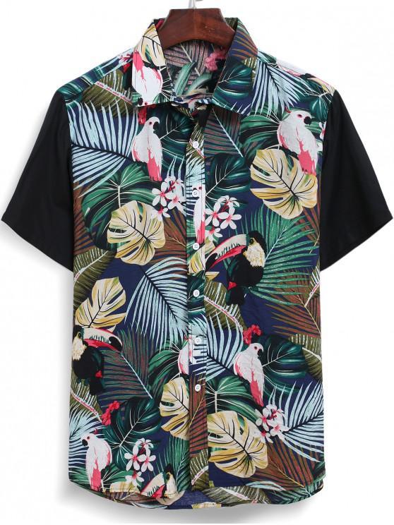 unique Leaf Floral Bird Print Hawaiian Shirt - MULTI 2XL