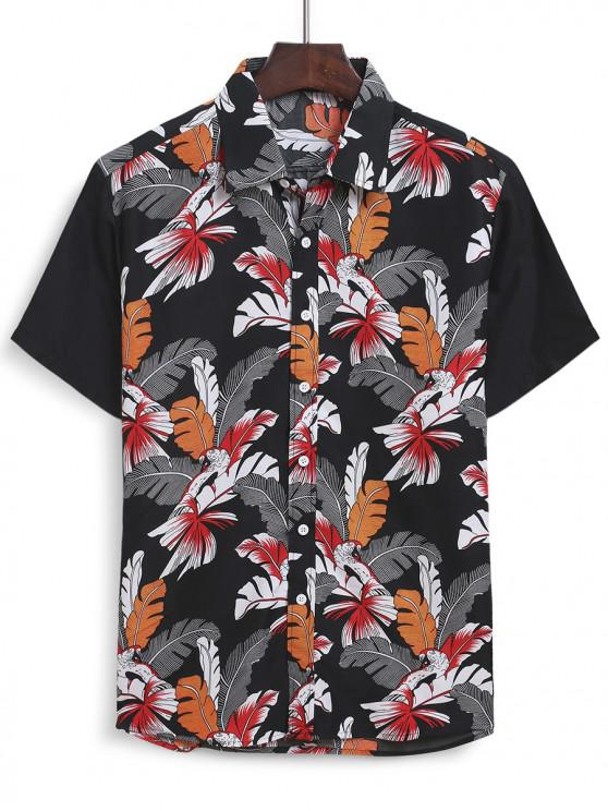 unique Hawaiian Leaf Print Short Sleeves Shirt - MULTI 2XL