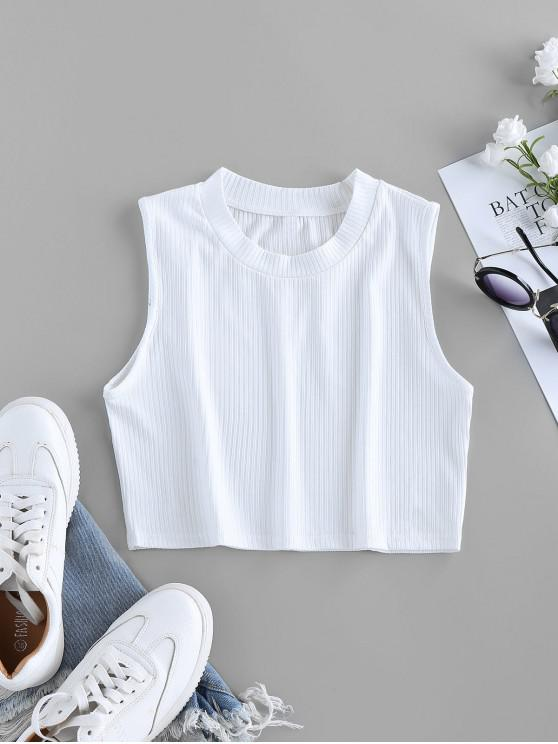 latest ZAFUL Ribbed Crew Neck Crop Tank Top - WHITE S