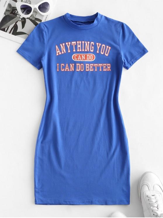 fashion Slogan Graphic Tee Dress - OCEAN BLUE L