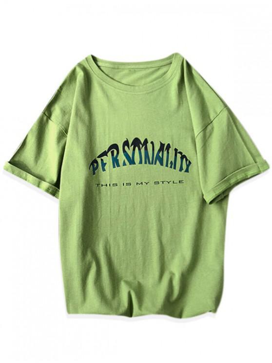 trendy Short Sleeve Letter Graphic Basic T-shirt - GREEN 3XL