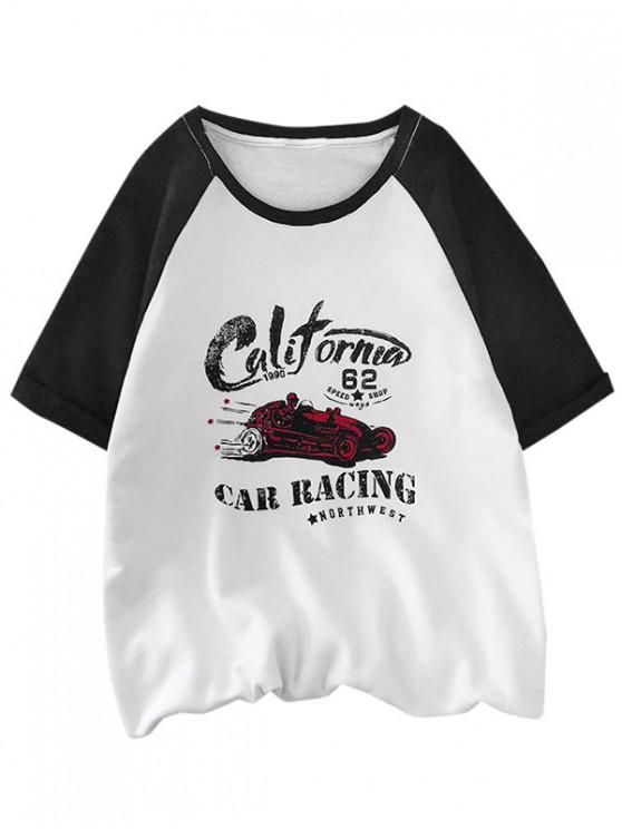 lady Car Racing Graphic Colorblock Panel T Shirt - BLACK XS