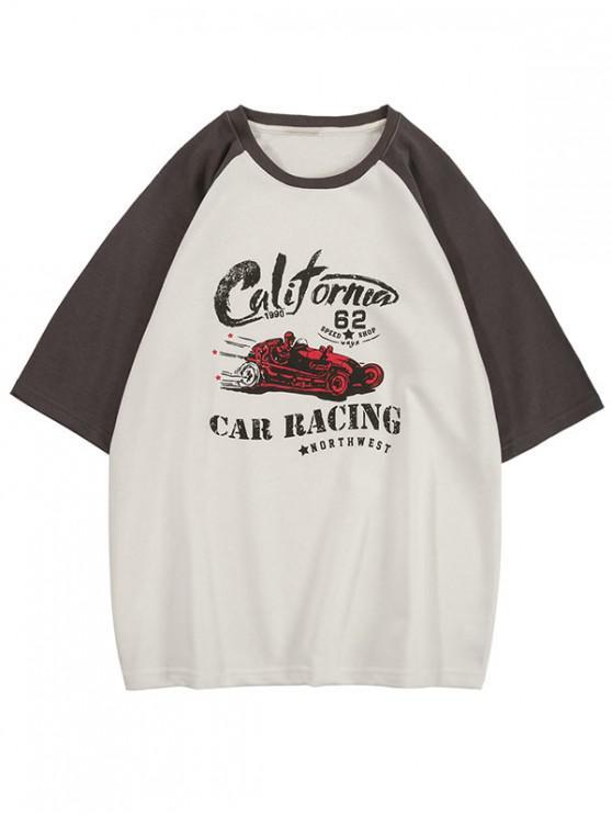 fashion Car Racing Graphic Colorblock Panel T Shirt - GRAY 2XL