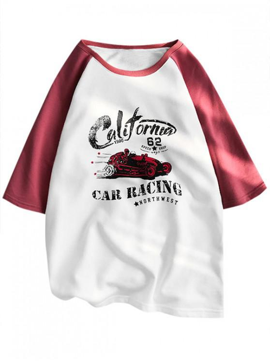 buy Car Racing Graphic Colorblock Panel T Shirt - RED 2XL