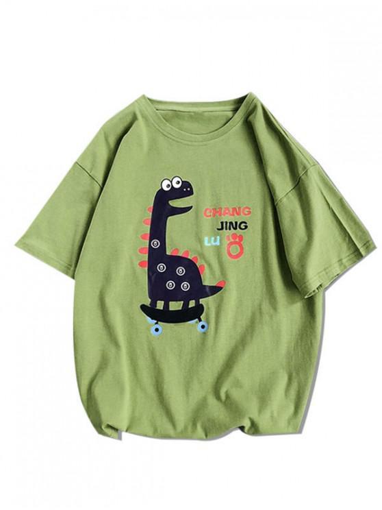 Cartoon Tier Basic T-Shirt - Grün M