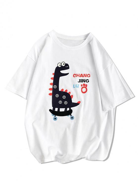 Cartoon Animal Basic T-shirt - أبيض XL