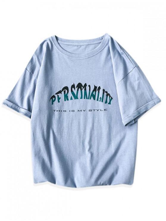 shops Short Sleeve Letter Graphic Basic T-shirt - BLUE 2XL