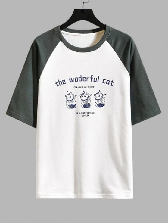 latest Cat Graphic Print Colorblock T-shirt - GRAY 2XL