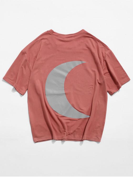 Luminos Moon grafic de bază T-shirt - roșu L