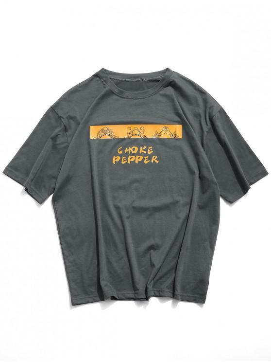 Choke Pepper Graphic Basic T-shirt - أسود XL