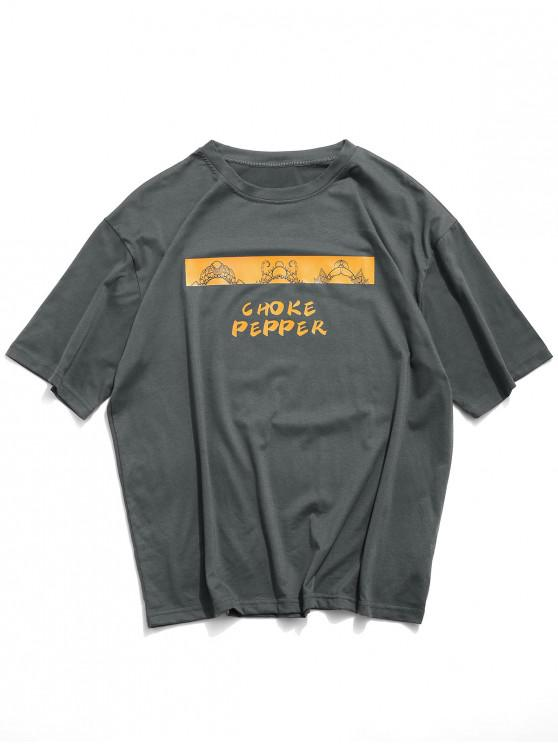 Choke Pepper grafic de bază T-shirt - Negru 3XL