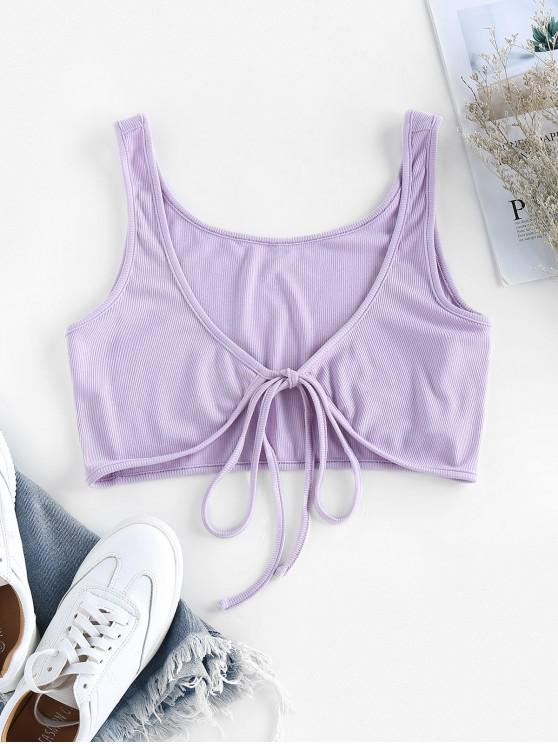 fancy ZAFUL Tie Front Ribbed Crop Top - PURPLE XL