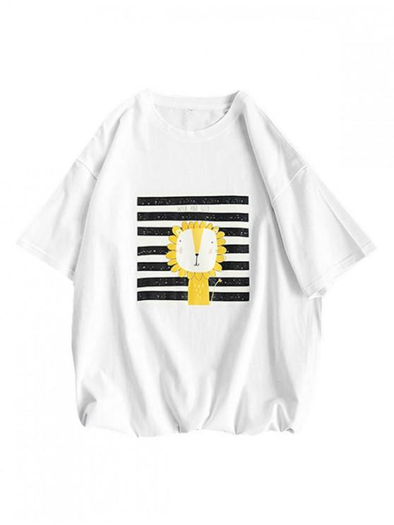 Cartoon Lion Striped Basic T Shirt - أبيض 3XL