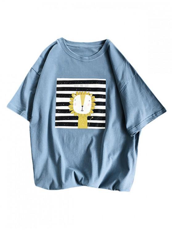 Camiseta Básica a Rayas Diseño León Dibujo Animado - Azul XL