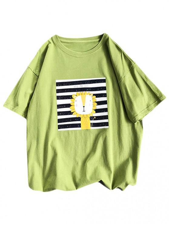affordable Cartoon Lion Striped Basic T Shirt - GREEN L