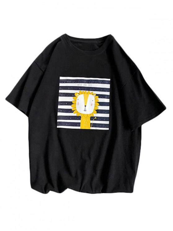 online Cartoon Lion Striped Basic T Shirt - BLACK 3XL