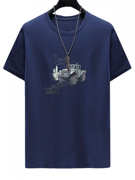 Rauchfarbe Buchstabedruck Lässiges T-Shirt - Kadettenblau 3XL