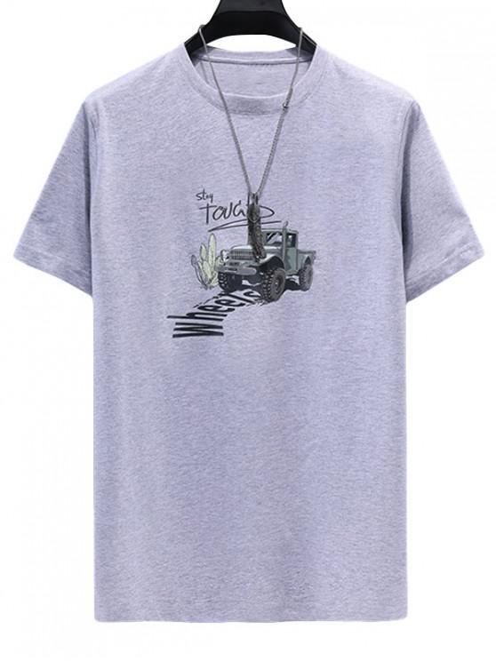women's Truck Letter Print Casual T-shirt - GRAY CLOUD 4XL