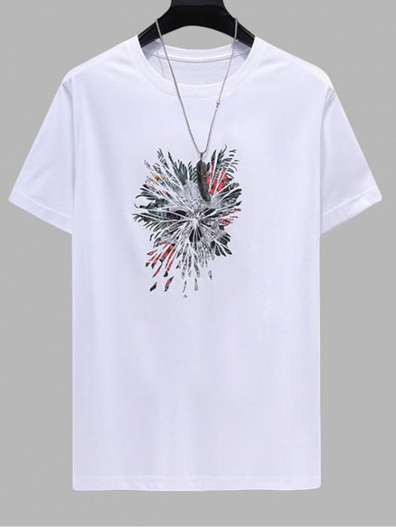 affordable Floral Feather Printed Short Sleeves T-shirt - WHITE 4XL